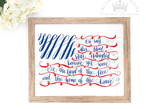 Patriotic Hand-Lettered Printable