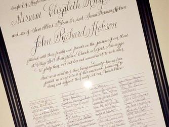 Miriam & John's Quaker Wedding Certificate