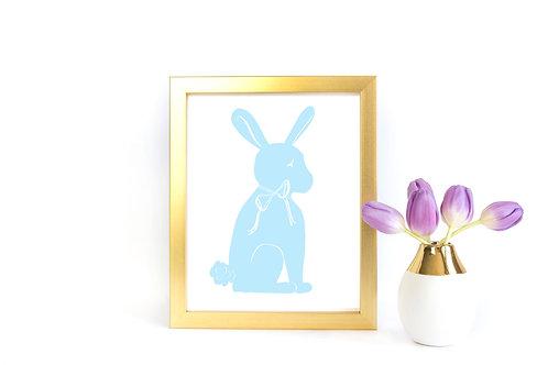 Bunny Silhouette Printable - Sky Blue