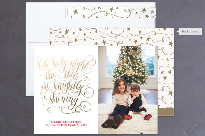 Gold Christmas card design by Beth Hunt Calligraphy on Minted!