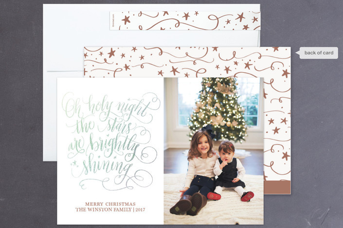 Silver Glitter Christmas card design by Beth Hunt Calligraphy on Minted!
