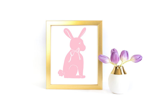 Bunny Silhouette Printable - Chantilly Pink