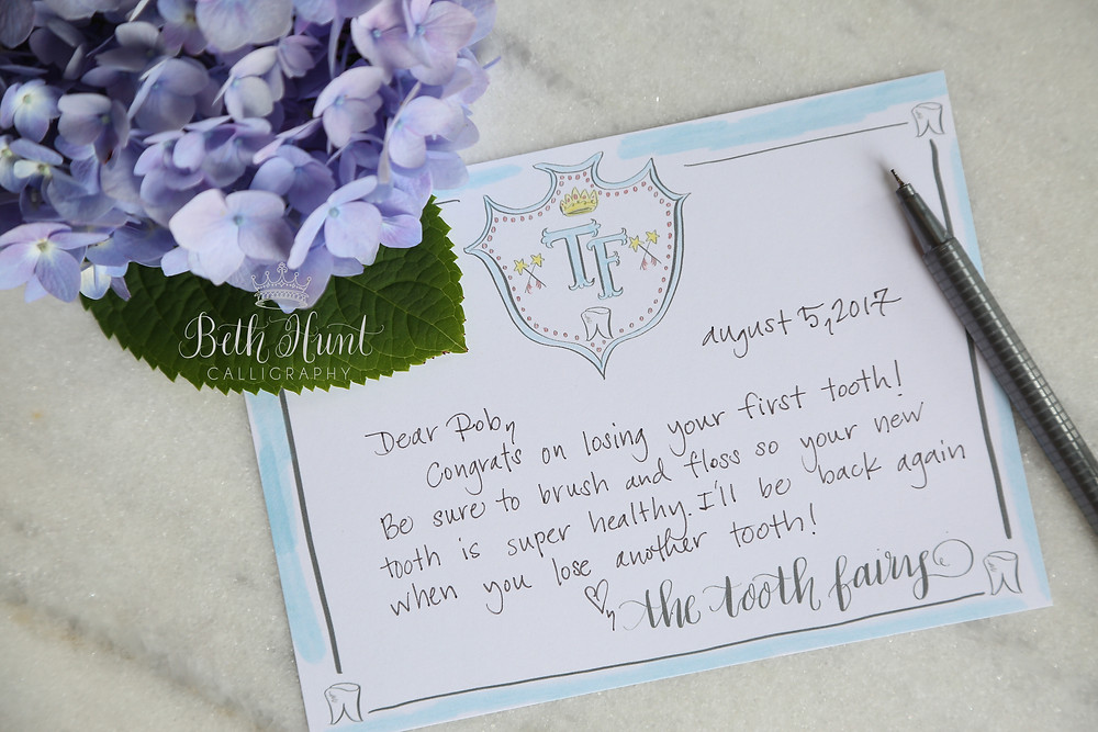 blue tooth fairy stationery