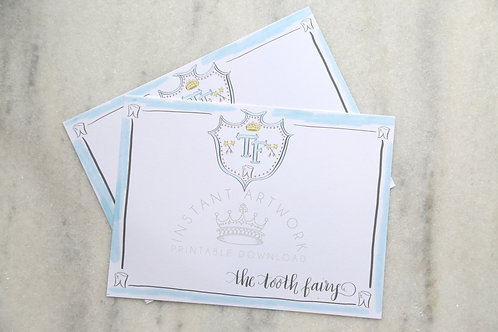 Tooth Fairy Printable Stationery - Blue