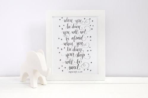 Proverbs 3:24 Printable: Nursery Art Print