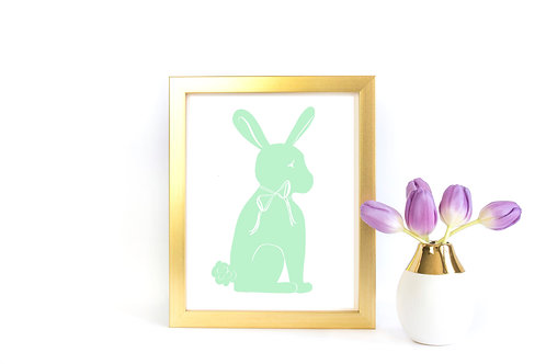 Bunny Silhouette Printable - Bright Mint Green