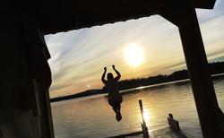 Episka solnedgångsbad från Bastuflotten