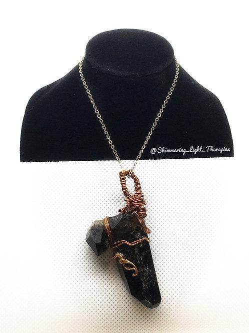 Twin Point Smokey Quartz Copper Wrapped Pendant