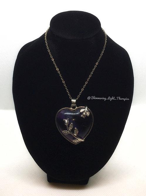 Heart Shaped Amethyst Imitation Pendant