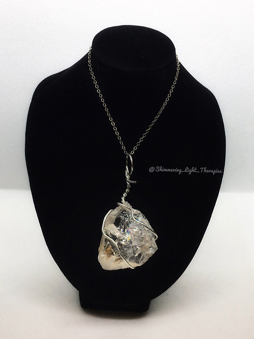 Clear Quartz Wrapped in Silve Wire