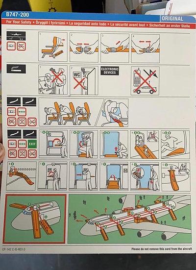 Air Atlanta Icelandic Boeing 747-200 Safety Card