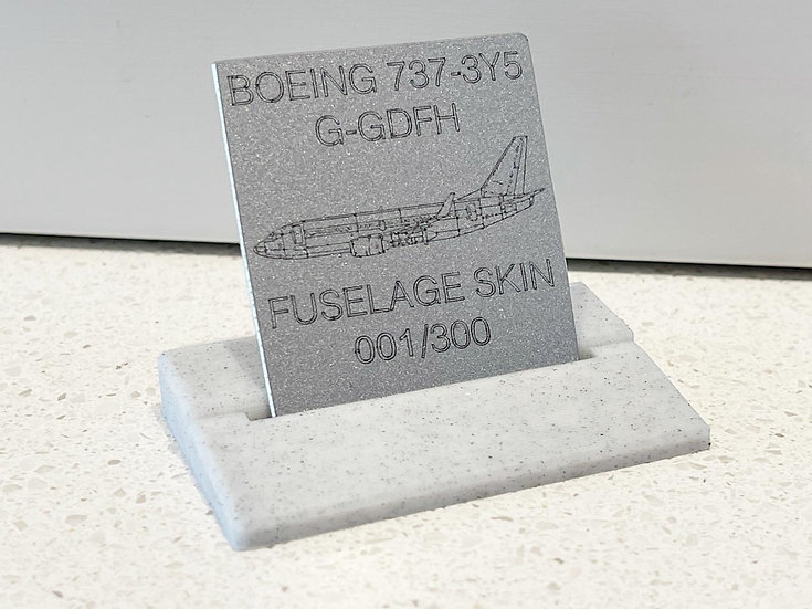 B737 G-GDFH skin tag with PLA plus stand