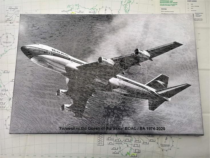 BOAC Boeing 747 tribute canvas 60x40cm