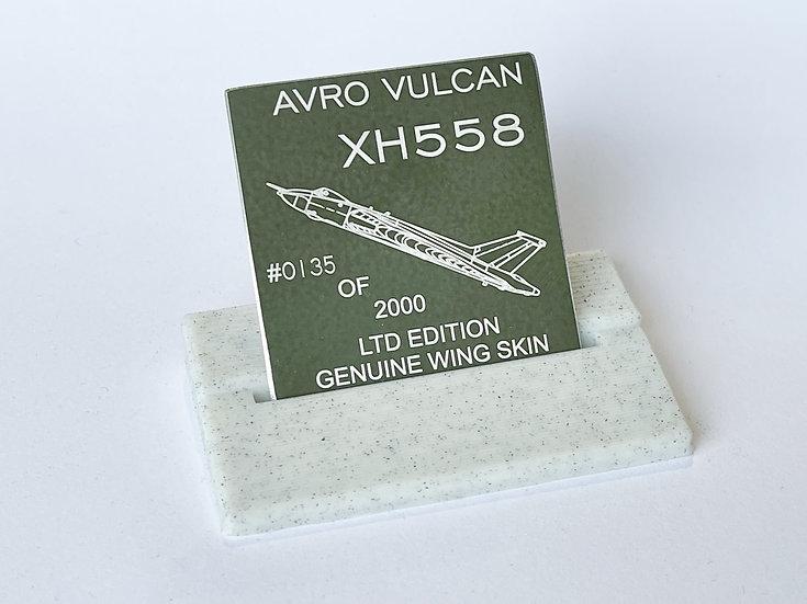 Limited edition RAF Avro Vulcan XH558 Mounted Skin Tags