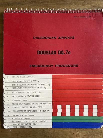 Caledonian Airways DC7c emergency procedure checklist manual 3rd December 1963