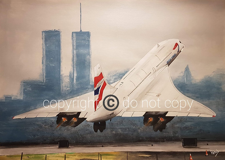 Concorde take-off Acrylic painting A4 Print