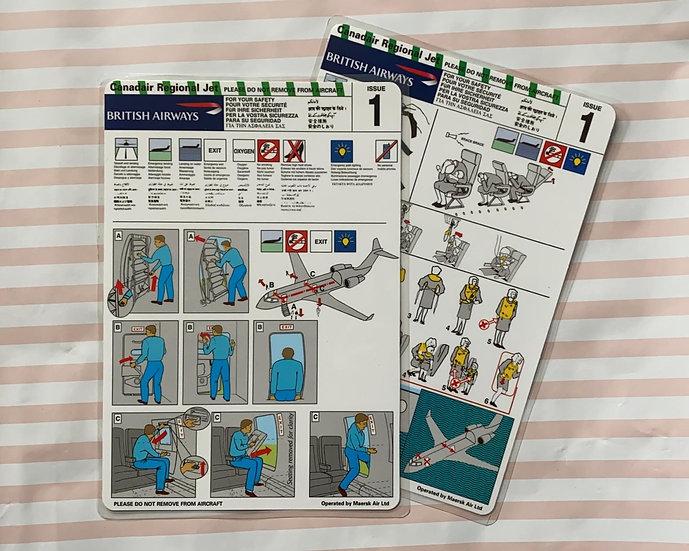 British Airways (Maersk UK) Canadair Regional Jet 200 safety card