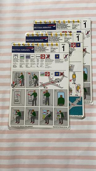 British Airways (Maersk UK) Canadair Regional Jet 700 safety card