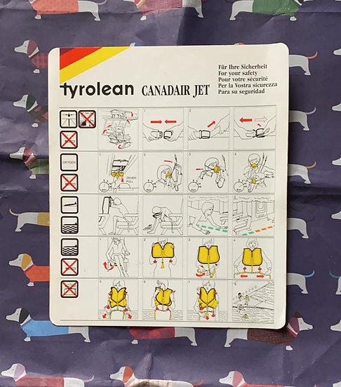 Tyrolean CRJ safety card