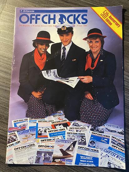 """""""OFF CHOCKS"""" Britannia Airways staff magazine July 1984"""