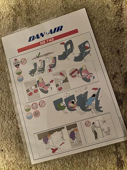 Dan Air HS748 safety card