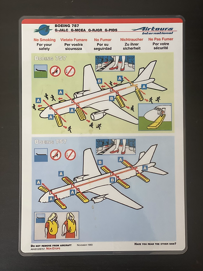 Airtours B757 specific reg safety card