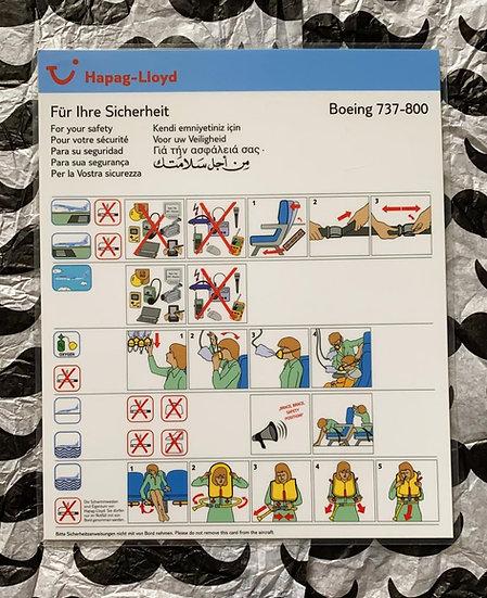 Hapag Lloyd Boeing 737-800 safety card