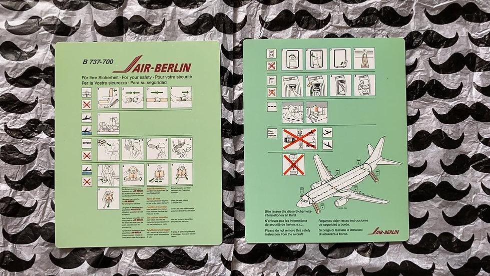 Air Berlin Boeing 737-700 safety card