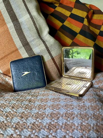 BOAC metal powder puff and mirror compact set