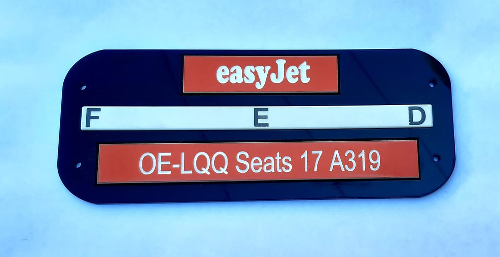 EasyJet/Thomas Cook PSU seat letter door signs