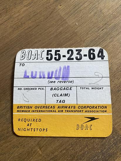 BOAC baggage claim tag