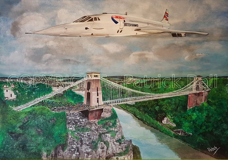 Concorde fly past Acrylic painting A4 Print