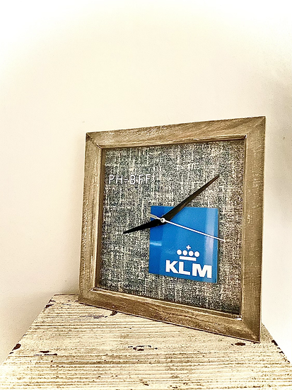 KLM clock with skin square of 747-406M combi PH-BFF