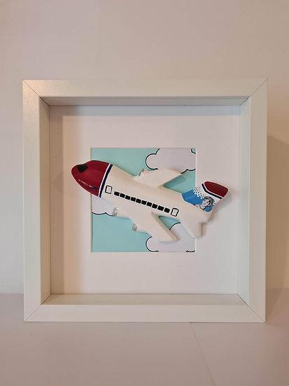 Norwegian Air livery hand made plaster of Paris frame