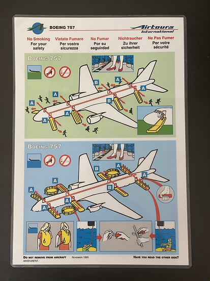 Airtours B757 safety card
