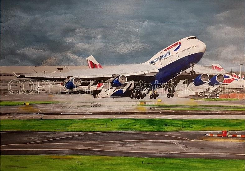 British Airways B747 Acrylic painting A4 Print
