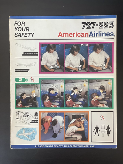 American Airlines 727 safety card