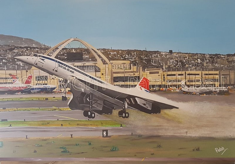 Concorde retro livery A2 Acrylic painting original