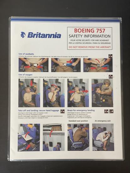 Britannia 757 safety card