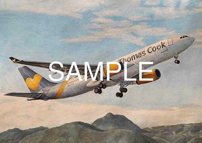 Print of Thomas Cook A330 G-MLJL watercolour original painting