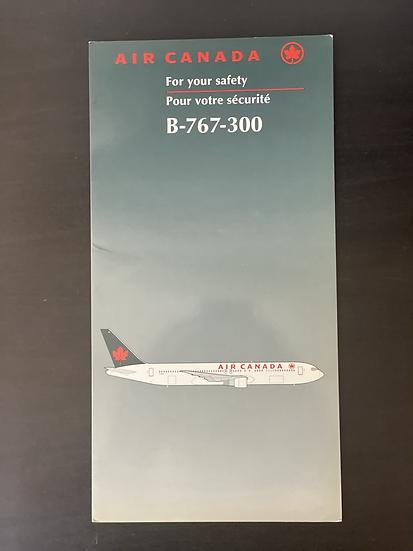 Air Canada B767-300 safety card