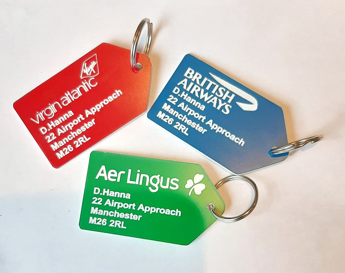 Customised airline luggage tag/key ring