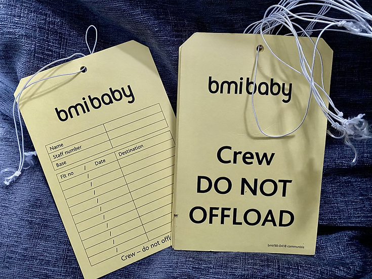 bmibaby  crew baggage tag