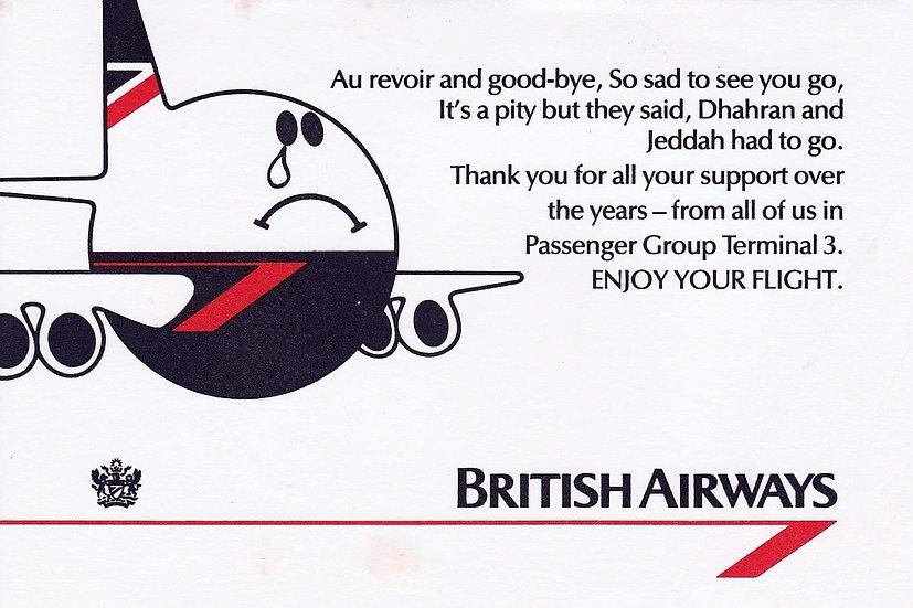 BRITISH AIRWAYS BOEING  747 CARD LEAVING DHAHRAN and JEDDAH
