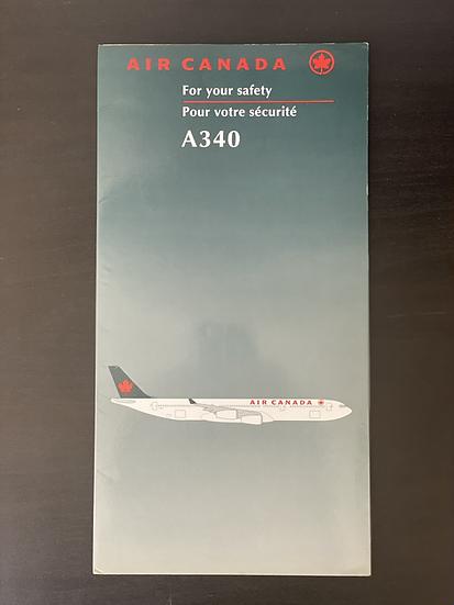Air Canada A340 safety card