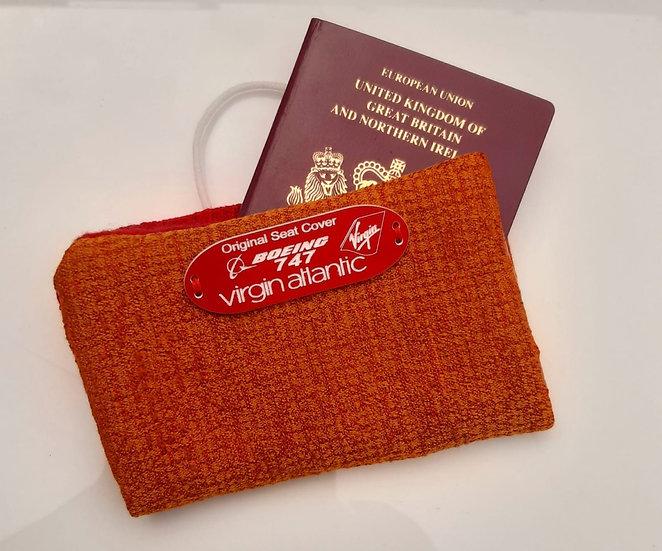 Virgin Atlantic B747 seat cover passport holder