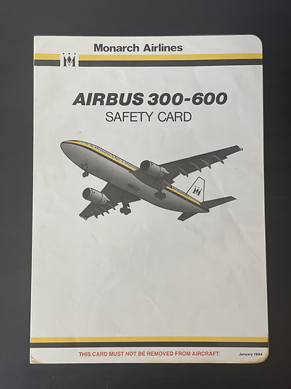 Monarch A300 safety card