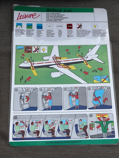 Leisure A320 safety card