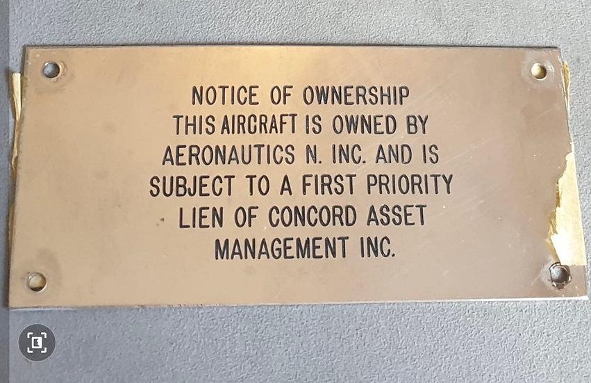 Virgin Atlantic G-VLAX ownership plate