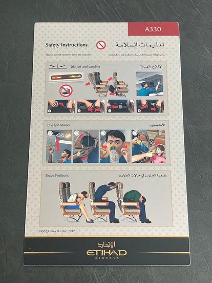 Etihad A330 safety card